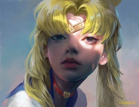 Sailor Moon - art, fantasy, anime, manga, sailor moon, mingjiao xue, face, realistic