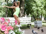 Maria Ryabushkina Posing for the Pigeons