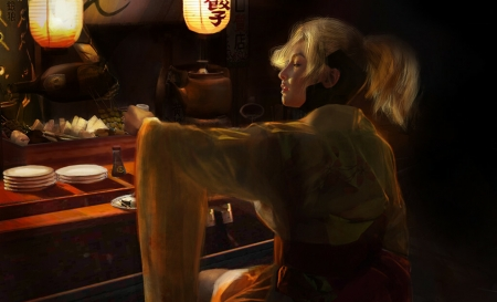 Overwatch - bar, dark, kimono, art, overwatch, luminos, brown, yellow, fantasy, sherry zhang, girl