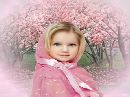 Portrait in the colors of pink - colors, pink, girl, pink almond blossoms, pink background