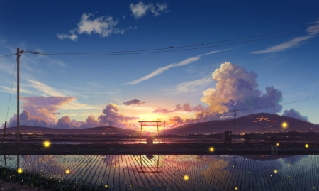 Sunset - japanese, anime, fields, sunset, sky, scenery, gate, torii, clouds, japan