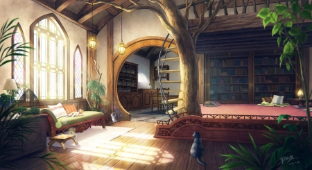 Tree House - fantasy, tree, original, house, library, indoor, anime, room