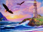 Lighthouse and Eagle