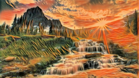Sunset in Mountains - river, sun, sky, cascades, painting, colors