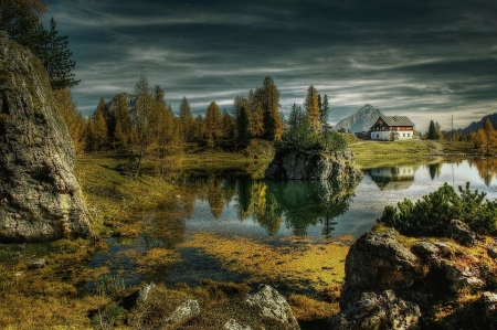 alpine lake - rocks, home, trees, lake, alpine