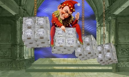 Ice Palace - art, red, fantasy, ice palace, green, funny, blue, vikki truver, harlequin