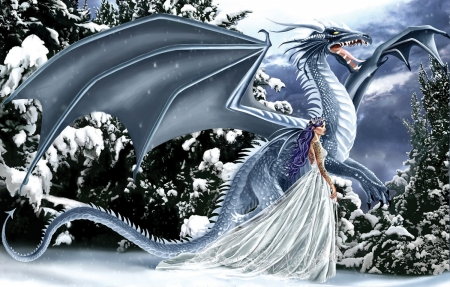 Ice Dragon - art, wings, girl, snow, digital
