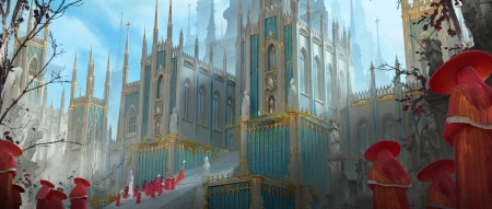 The Procession ~ Day - fantasy, day, eugene maslovski, castle, blue, world, procession, art, red, luminos