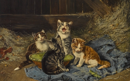 Four kittens with grasshopper in the stable - art, julius anton adam, grasshopper, cute, painting, cat, kitten, animal, pictura