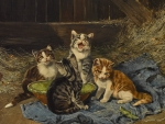 Four kittens with grasshopper in the stable