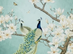 Peacocks and magnolia