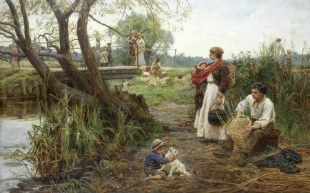 :) - child, man, frederick morgan, art, family, caine, woman, mother, girl, people, painting, pictura, dog