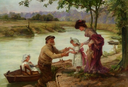 A walk along the river - old man, art, children, mother, frederick morgan, water, boat, vara, summer, copil, painting, walk, pictura