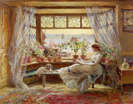 Reading by the window - frumusete, girl, window, painting, pictura, charles james lewis, dog, art, vara, summer
