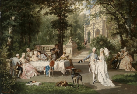 Gallant society in Schlosspark - carl schweninger jr, art, vara, people, painting, summer, park, pictura