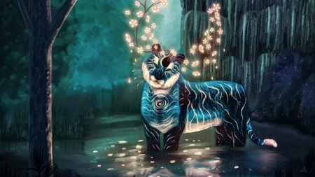 Fantasy tiger - blue, creature, mary phillips, glow, luminos, tiger, horns, fantasy, water, tigru, light