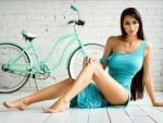 Helga Lovekaty Posing with her Bicycle