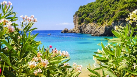 Corfu, Greece - sea, rocks, vacation, exotic, Corfu, view, beautiful, sky, beach, Greece, summer, flowers, coast