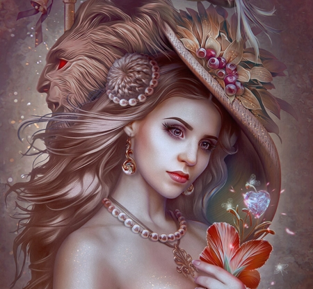 The scarlet flower - svetlana klimova, face, pink, hat, scarlet flower, frumusete, beauty and the beast, luminos, fantasy, girl, jewel