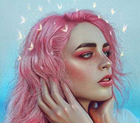Pink - fantasy, yasar vurdem, girl, face, portrait, pink, blue, art, luminos, hair