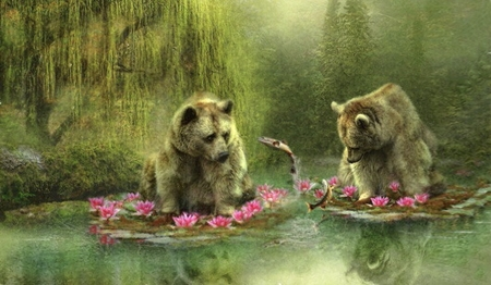 A Bear's Fascination - water, green, fish, Bears, Scenic, painting, fantast art, ourdoors