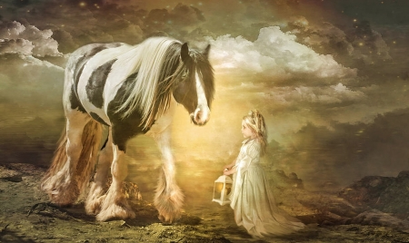 A Magical Meeting - dreamy, enchanting, Horse, fantasy, lantern, Little girl, magical, clouds