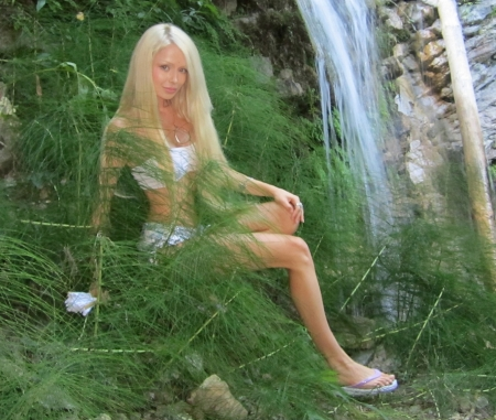 Valeria Lukyanova - white top, ferns, white shorts, greenery, sitting, sandals, watrerfall, pendant, barbie looks, Platinum blonde