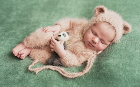 ♥ - cute, panda, copil, bear, toy, child, baby, sweet, green