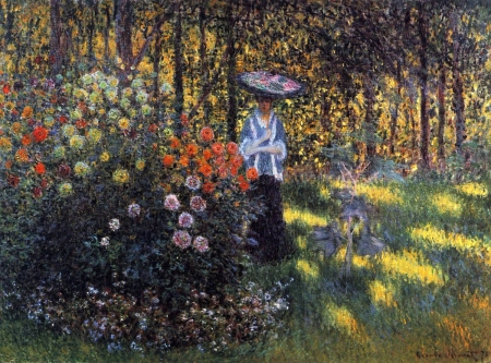 Woman with a Parasol in the Garden in Argenteuil - claude monet, art, girl, flower, painting, garden, pictura, woman, parasol