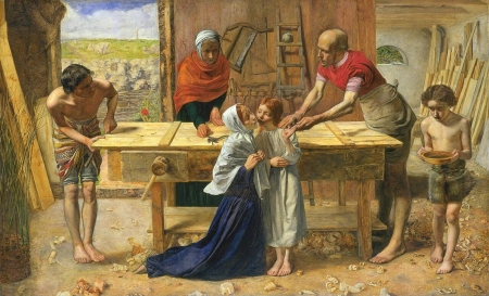 Christ in the house of his parents - art, christ, boy, people, painting, children, copil, pictura, john everett millais