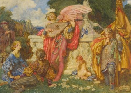 Romance - eleanor fortescue brickdale, wing, pink, art, red, romance, angel, yellow, man, instrument, song, girl, painting, pictura