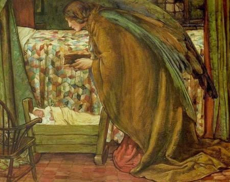 Guardian angel - wings, angel, copil, child, guardian, eleanor fortescue brickdale, baby, art, painting, pictura