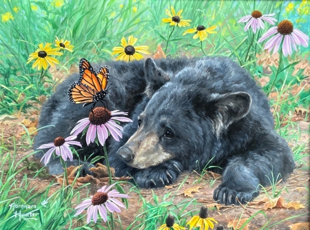 Lazy Day Cub - flowers, bear, butterflies, artwork, painting