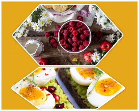 Spicy eggs brunch - deviled, HD, eggs, spicy, breakfast, raspberries, brunch, Yellow, food, collage