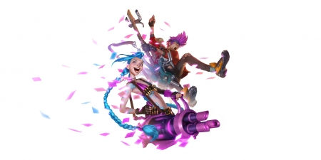 Jinx - blue, jinx, fantasy, girl, lol, white, pink