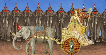 Trunk Show - red, art, fantasy, girl, brown, elephant, yellow, funny, vikki truver