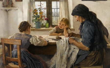 A Letter to Father - mother, table, children, painting, daughters, girls, letter