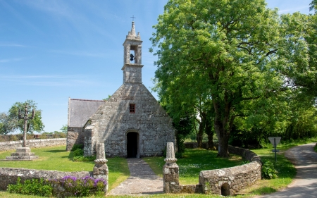 Old Church in France - bell, tree, church, gate, France, road