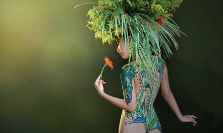 Body Painted Model - green, model, beautiful, Woman, body paint, sexy, gorgeous, sensual, Headdress, softness
