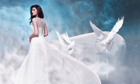 Delicate and Beautiful - Brunette, doves, femininity, gown, ethereal, Model, Photography, white, Softness