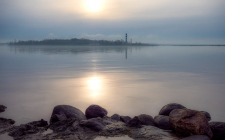 Lighthouse in Latvia - Latvia, rocks, lighthouse, sea
