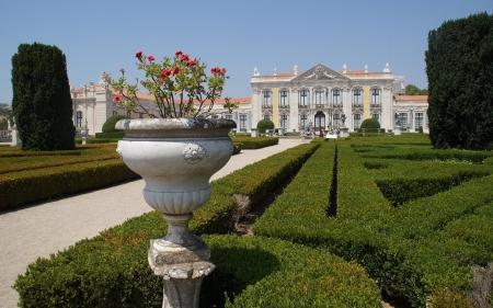 Palace in Portugal - flowers, garden, palace, Portugal