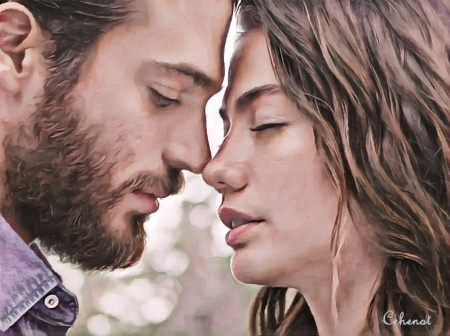 Can and Sanem - art, Demet Ozdemir, sanem, by cehenot, man, cehenot, can, actress, girl, painting, can and sanem, face, pink, Can Yaman, couple, actor, pictura