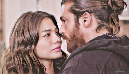 Sanem and Can - cehenot, can, actress, girl, painting, can and sanem, face, pink, portrait, Can Yaman, actor, Demet Ozdemer, ictura, tv series, pictura, couple, art, sanem, man, by cehenot, erkenci kus
