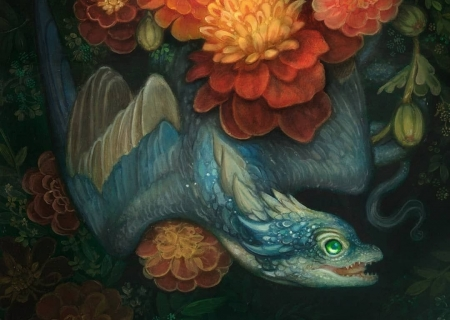 Dragon - orange, flower, annie stegg, dragon, blue, art, red, little, luminos, fantasy, tiny