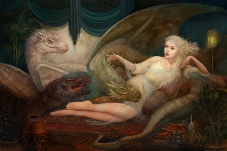 Daenerys - pictura, annie stegg, dragon, superb, gorgeous, art, frumusete, game of thrones, girl, daenerys targaryen, painting