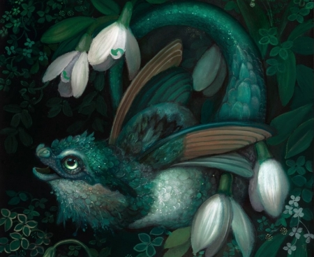 Spring dragon - snowdrops, annie stegg, dragon, art, little, spring, fantasy, tiny, ghiocei, green, flower, white