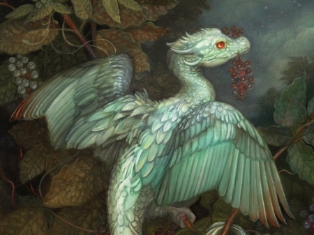 Dragon - autumn, tiny, little, annie stegg, dragon, art, wings, grapes, fruit, fantasy