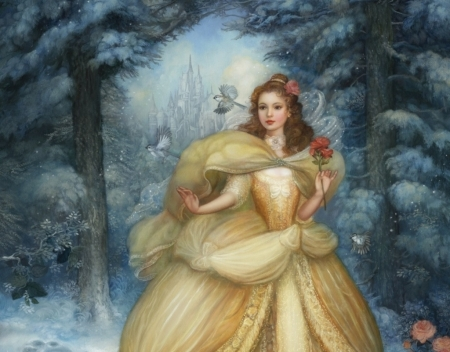 Belle - forest, art, beauty and the beast, dress, luminos, yellow, belle, annie stegg, winter, iarna, fantasy, girl, flower, princess, blue