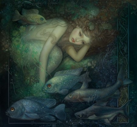Mermaid - art, frumusete, fish, luminos, mermaid, superb, annie stegg, vara, fantasy, green, girl, pesti, dark, summer, gorgeous, blue